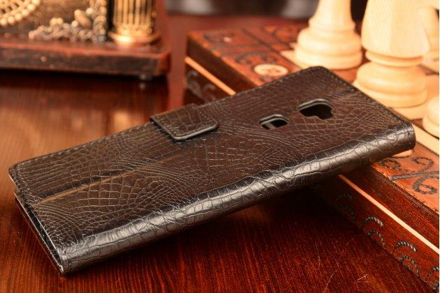 """Фирменный чехол-книжка с подставкой для Huawei Mate S 5.5"""" лаковая кожа крокодила цвет черный"""