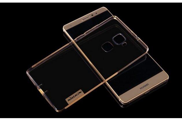 """Фирменная ультра-тонкая полимерная из мягкого качественного силикона с защитными  заглушками задняя панель-чехол-накладка для Huawei Mate S 5.5"""" золотая"""