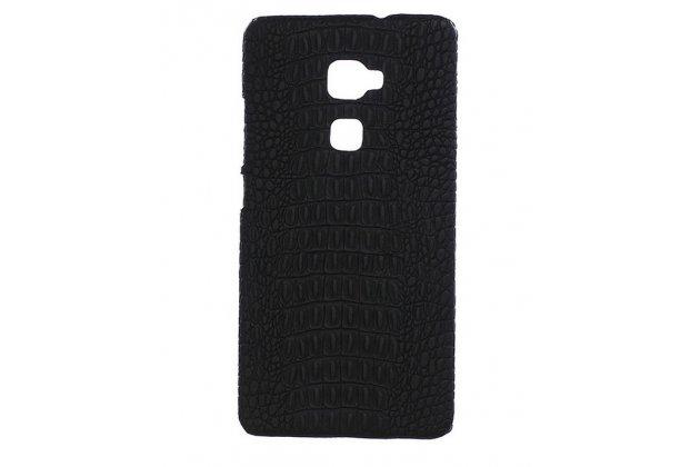 """Элитная задняя панель-крышка премиум-класса из тончайшего и прочного пластика обтянутого кожей крокодила для Huawei Mate S 5.5"""" брутальный черный"""