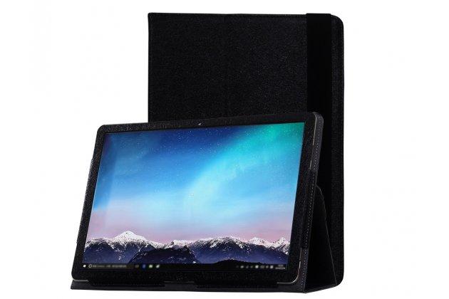 """Чехол для Huawei Matebook 12"""" (HZ-W09) черный кожаный с держателем для руки"""