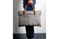 """Чехол-сумка-портфель для Huawei Matebook 12"""" (HZ-W09) с отделением для дополнительных аксессуаров из высококачественного материала с элементами кожи серого цвета"""