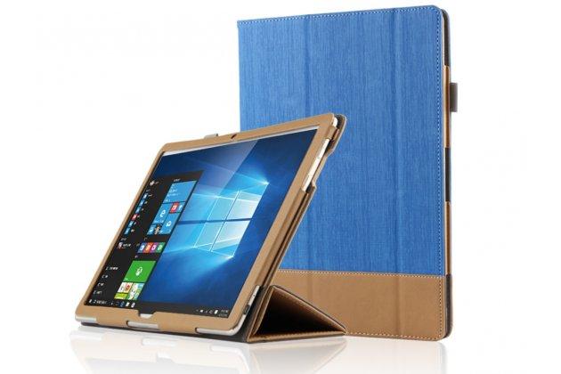 "Фирменный чехол-футляр-книжка для Huawei Matebook 12"" (HZ-W09) синий кожаный"