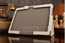 Фирменный чехол бизнес класса для Huawei MediaPad M2 10.0 M2-A01W/L 10.1 с визитницей и держателем для руки белый натуральная кожа Prestige Италия