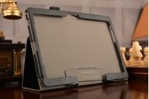 Фирменный чехол бизнес класса для Huawei MediaPad M2 10.0 M2-A01W/L 10.1 с визитницей и держателем для руки черный натуральная кожа Prestige Италия