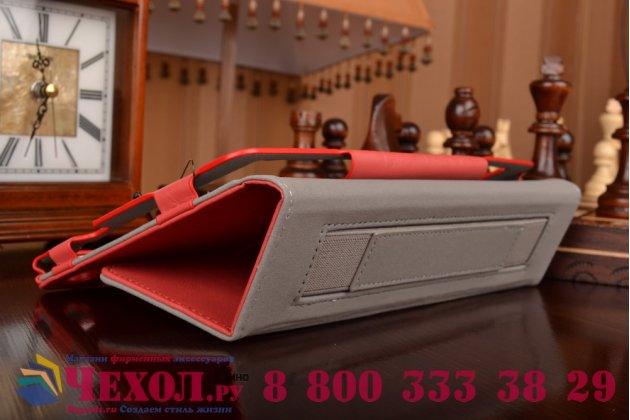 """Фирменный чехол бизнес класса для Huawei MediaPad M2 8.0 LTE (M2-801W M2-803L) с визитницей и держателем для руки красный натуральная кожа """"Prestige"""" Италия"""