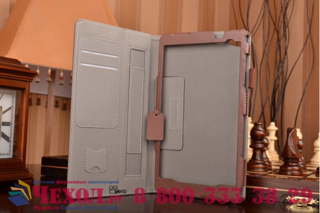 """Фирменный чехол бизнес класса для Huawei MediaPad M2 8.0 LTE (M2-801W M2-803L) с визитницей и держателем для руки коричневый натуральная кожа """"Prestige"""" Италия"""