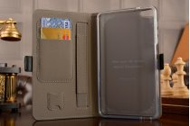 Фирменный чехол бизнес класса для Huawei MediaPad T2 7.0 Pro (PLE-701L) с визитницей и держателем для руки черный натуральная кожа Prestige Италия