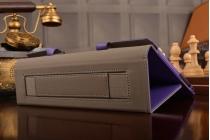 Фирменный чехол бизнес класса для Huawei MediaPad M2 10.0 M2-A01W/L 10.1  с визитницей и держателем для руки фиолетовый натуральная кожа Prestige Италия