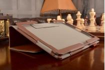 Фирменный чехол бизнес класса для Huawei MediaPad M2 10.0 M2-A01W/L 10.1 с визитницей и держателем для руки коричневый натуральная кожа Prestige Италия