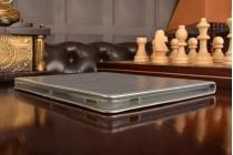 Фирменный премиальный чехол бизнес класса для Huawei MediaPad M2 10.0 M2-A01W/L 10.1  из качественной импортной кожи серебристый