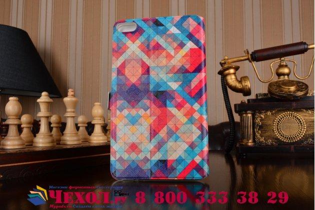 Фирменный оригинальный чехол-книжка для Huawei MediaPad M2 7.0 (PLE-703L) разноцветный с окошком для входящих вызовов тематика Мозайка