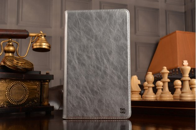 Фирменный умный ультра тонкий чехол бизнес класса для планшета Huawei MediaPad M2 8.0 LTE (M2-801W M2-803L)из качественной импортной кожи в серебряном цвете