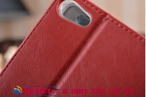 Фирменный чехол бизнес класса для Huawei MediaPad M2 7.0 (PLE-703L) с визитницей и держателем для руки красный натуральная кожа Prestige Италия