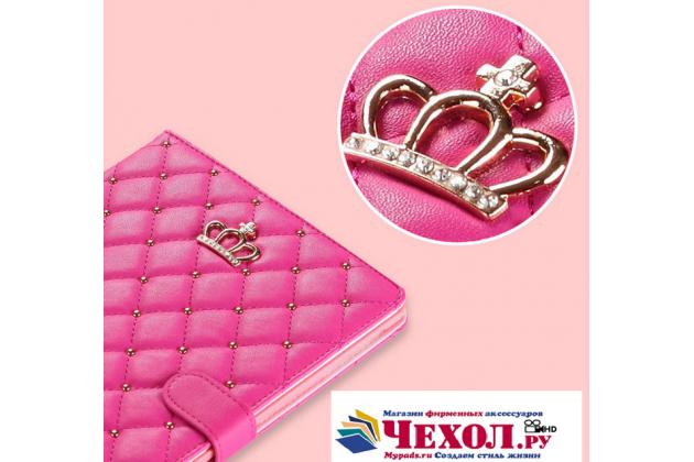 Стёганная кожа в ромбик с узором чехол-обложка для Huawei MediaPad M2 7.0 (PLE-703L) цвет розовый кожаный
