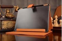 """Фирменный чехол с красивым узором для планшета Huawei MediaPad M2 10.0 M2-A01W/L 10.1"""" оранжевый натуральная кожа Италия"""