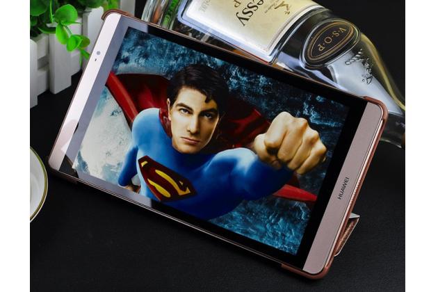 Фирменный ультра-тонкий чехол-футляр-книжка для Huawei MediaPad M2 8.0 LTE (M2-801W M2-803L) золотой пластиковый