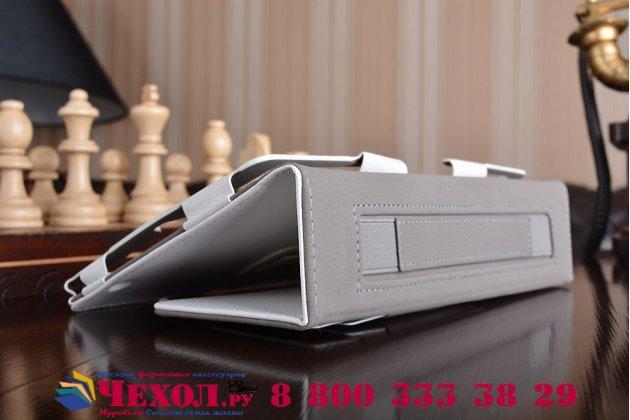 Фирменный чехол бизнес класса для Huawei MediaPad M3 8.4 LTE (BTV-W09/DL09) с визитницей и держателем для руки белый натуральная кожа Prestige Италия