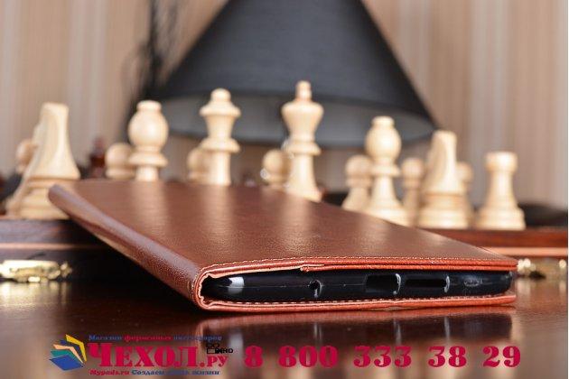 Фирменный чехол-книжка из качественной импортной кожи с подставкой застёжкой и визитницей для Huawei MediaPad M3 8.4 LTE (BTV-W09/DL09) коричневый
