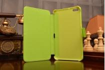 """Чехол-книжка с подставкой для Huawei MediaPad T1 T1-701u 7.0 из качественной импортной кожи с цветочным рисунком  """"Flower"""" зеленый"""