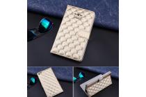 Стёганная кожа в ромбик с узором чехол-обложка для Huawei Mediapad T1 10 LTE 9.6 / Honor Note T1-A21W золотой кожаныйкой волны кожаный