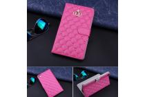 Стёганная кожа в ромбик с узором чехол-обложка для Huawei Mediapad T1 10 LTE 9.6 / Honor Note T1-A21W розовый кожаный