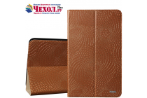 Фирменный чехол-книжка из качественной импортной кожи с подставкой застёжкой и визитницей для Huawei Mediapad T1 10 LTE 9.6 / Honor Note T1-A21W с золотым узором коричневый