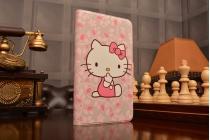 """Фирменный чехол-книжка с безумно красивым рисунком для Huawei MediaPad T1 T1-701u 7.0 тематика """"Hello Kitty"""""""