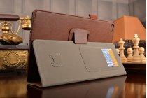 """Фирменный чехол бизнес класса для Huawei MediaPad T2 10.0 Pro/ T2 10.0 Pro LTE (FDR-A01w\A03L) с визитницей и держателем для руки коричневый натуральная кожа """"Prestige"""" Италия"""