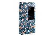 Фирменный чехол-книжка с безумно красивым расписным рисунком Оленя в цветах на Huawei Mediapad T2 7.0 Pro LTE  с окошком для звонков