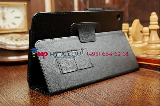 Чехол обложка для Huawei Mediapad M1 черный кожаный