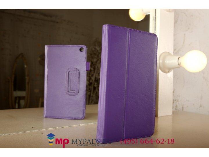 Фирменный чехол бизнес класса для Huawei MediaPad M1 8.0 LTE с визитницей и держателем для руки фиолетовый нат..