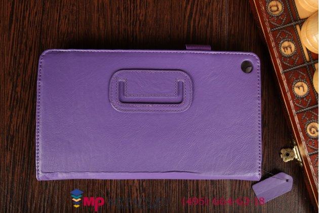 """Фирменный чехол бизнес класса для Huawei MediaPad M1 8.0 LTE с визитницей и держателем для руки фиолетовый натуральная кожа """"Prestige"""" Италия"""