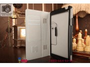 Фирменный чехол бизнес класса для Huawei MediaPad M1 8.0 LTE с визитницей и держателем для руки черный натурал..