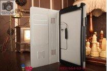 """Фирменный чехол бизнес класса для Huawei MediaPad M1 8.0 LTE с визитницей и держателем для руки черный натуральная кожа """"Prestige"""" Италия"""