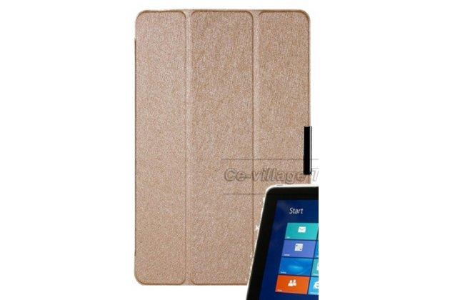 """Фирменный умный чехол-книжка самый тонкий в мире для Huawei Mediapad M1 8.0 """"Il Sottile"""" золотой пластиковый"""