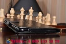Фирменный чехол-книжка из качественной импортной кожи с подставкой застёжкой и визитницей для HuaWei MediaPad T1 8.0 S8-701U S8-701W черный кожаный