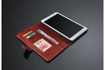 Фирменный чехол-книжка из качественной импортной кожи с подставкой застёжкой и визитницей для HuaWei MediaPad T1 8.0 S8-701U S8-701W коричневый кожаный