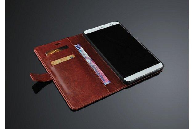 """Фирменный чехол-книжка из качественной импортной кожи с подставкой застёжкой и визитницей для Huawei Mediapad X2 7.0""""/ Хюавей Медиапад Икс2 7.0"""" / X1 7.0 коричневый"""