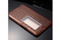 Фирменный роскошный эксклюзивный чехол с фактурной прошивкой рельефа кожи крокодила для Huawei Mediapad X2 коричневый с окошком для входящих вызовов. Только в нашем магазине. Количество ограничено