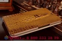 Фирменный роскошный эксклюзивный чехол с объёмным 3D изображением кожи крокодила коричневый для Huawei Mediapad X2 . Только в нашем магазине. Количество ограничено
