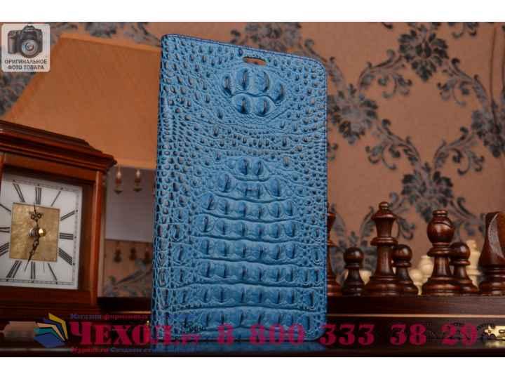 Фирменный роскошный эксклюзивный чехол с объёмным 3D изображением рельефа кожи крокодила синий для Huawei Medi..