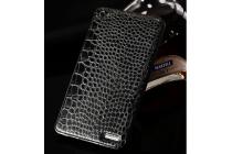 Элитная задняя панель-крышка премиум-класса на металлической основе обтянутой фактурной рельефной  кожей крокодила для Huawei Mediapad X2 брутальный черный