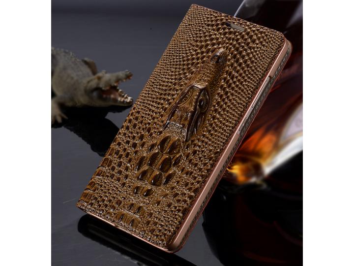 Фирменный роскошный эксклюзивный чехол с объёмным 3D изображением кожи крокодила коричневый для Huawei Mediapa..