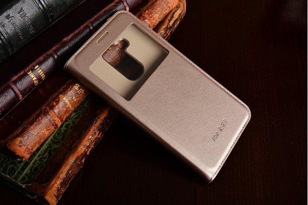 Фирменный чехол-книжка для Huawei Nova Plus золотой с окошком для входящих вызовов и свайпом водоотталкивающий