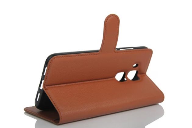 Фирменный чехол-книжка из качественной импортной кожи с подставкой застёжкой и визитницей для Huawei Nova Plus коричневый