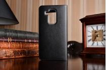 Фирменный оригинальный чехол-книжка для Huawei Nova Plus черный с окошком для входящих вызовов водоотталкивающий