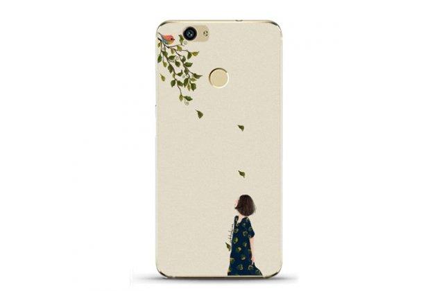 """Фирменная роскошная задняя панель-чехол-накладка  из мягкого силикона с безумно красивым расписным 3D рисунком на Huawei Nova Plus тематика """"Девушка - Осень"""""""