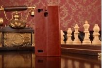 Фирменный чехол-книжка для Huawei Nova с визитницей и мультиподставкой коричневый кожаный