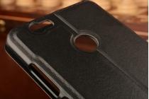 Фирменный оригинальный чехол-книжка для Huawei Nova черный с окошком для входящих вызовов водоотталкивающий