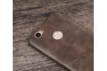 """Фирменная премиальная элитная крышка-накладка из тончайшего прочного пластика и качественной импортной кожи  для Huawei Nova """"Ретро под старину"""" коричневая"""